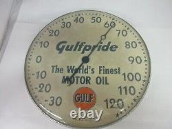 Vintage Publicité Gulf Pride Oil Auto Round Thermometer Garage Store M-501
