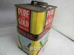Vintage Publicité Pure Gold Motor Oil 2 Gallon Can Tin Garage Store 764-q