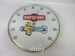 Vintage Publicité Ray-o-vac Magasin Garage Thermomètre En Verre Couverture M-506