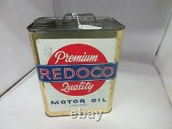 Vintage Publicité Redoco Motor Oil 2 Gallon Can Tin Garage Store A-315