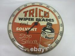 Vintage Publicité Trico Round Thermometer Glass Face Garage Store M-402