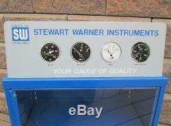 Vintage Stewart Warner Gauge Vitrine Avec Instrument Topper Sw Vraie
