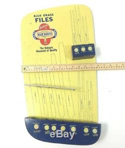 Vtg Publicité Belknap Blue Grass Rack Display File Store Métal, Garage Mancave